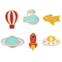 Load image into Gallery viewer, Romantic Universe UFO Planet Aircraft Rocket Cosmic Space Hot Air Balloon Airship Badges Metal Enamel Pin For Clothes Backpack