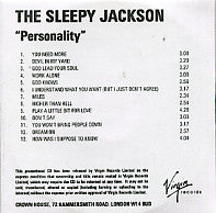 THE SLEEPY JACKSON - Personality