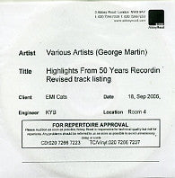 VARIOUS - Produced By George Martin - 50 Years In Recording