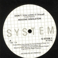 MAXINE SINGLETON - Don't You Love It