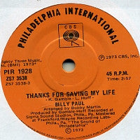 BILLY PAUL - Thanks For Saving My Life / I Was Married