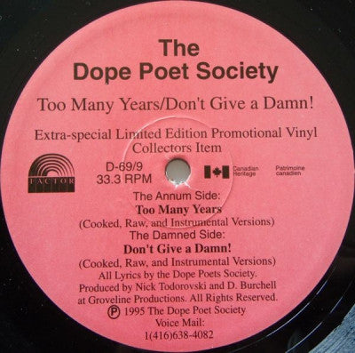 THE DOPE POET SOCIETY - Too Many Years / Don't Give A Damn!