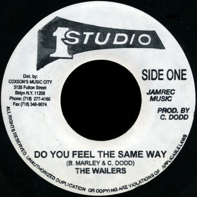 THE WAILERS - Do You Feel The Same Way / Destiny