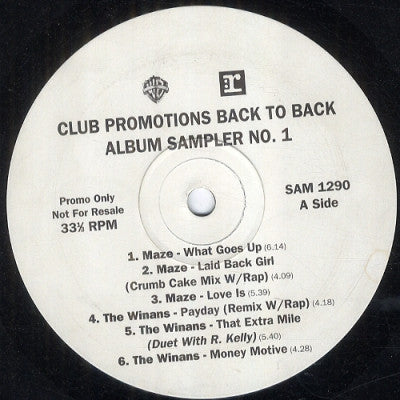 MAZE / THE WINANS / EARTH WIND & FIRE - Club Promotions Back To Back Album Sampler No. 1