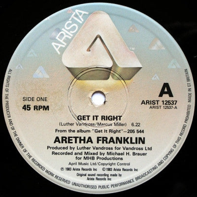 ARETHA FRANKLIN - Get It Right / Jump To It