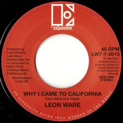 LEON WARE - That's Why I Came to California / Rockin You Eternally
