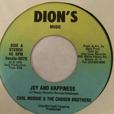 EARL MOODIE & THE CHOSEN BROTHERS - Joy And Happiness / Happiness Version