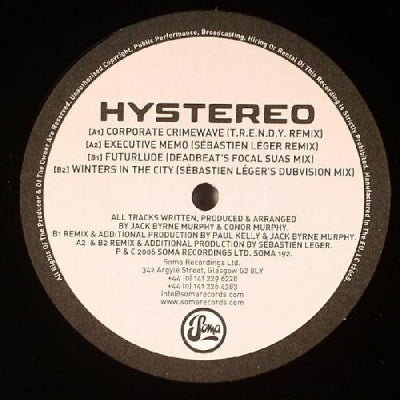 HYSTEREO - Winters In The City / Executive Memo (Remixes)
