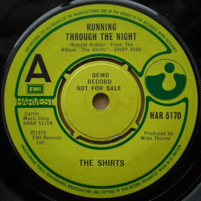 THE SHIRTS - Running Through The Night / Lonely Android