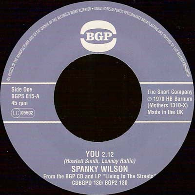 SPANKY WILSON - You / Sunshine Of Your Love