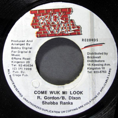 SHABBA RANKS - Come Wuk Mi Look