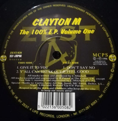 CLAYTON M - The 100% E.P. Volume One