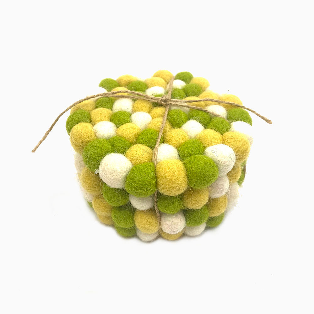 Lime Green Felt Ball Coaster Set
