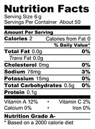 Tango Hot - Nutritional Facts