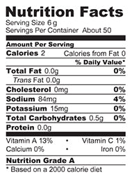 Tango Mild - Nutritional Facts