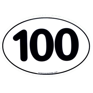 "Large Oval Sticker ""100"""