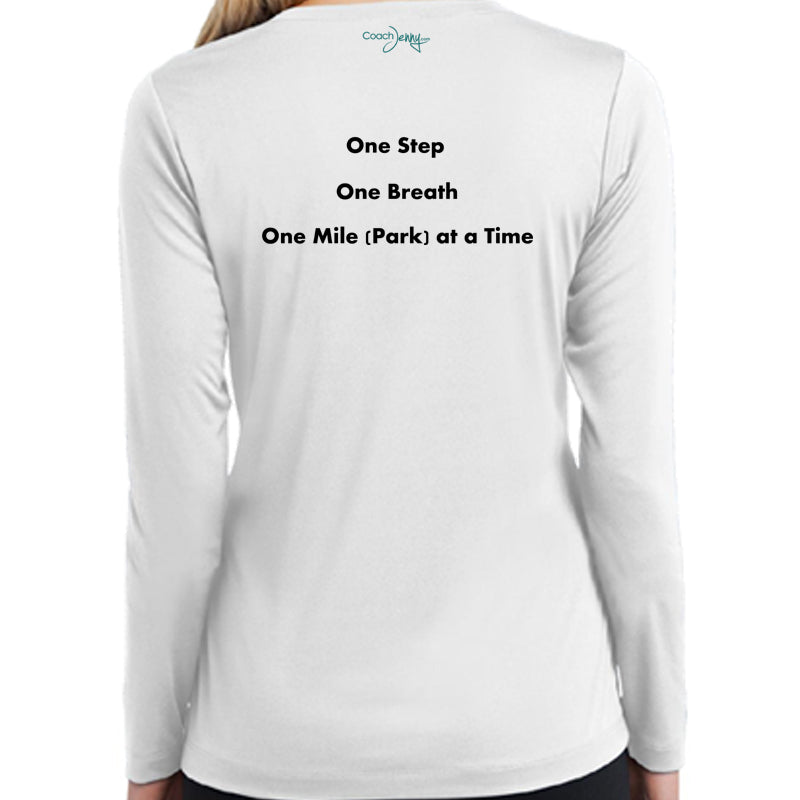 Coach Jenny's National Parks Challenge 2018 Ladies Sports Tech Long Sleeve V