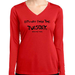 "Ladies Sports Tech Long Sleeve V - ""Estimated Finish Time"""