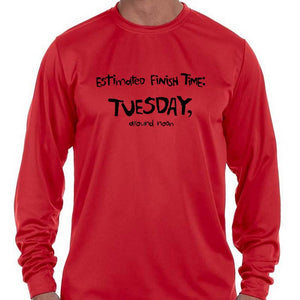 "Men's Sports Tech Long Sleeve Crew - ""Estimated Finish Time"""