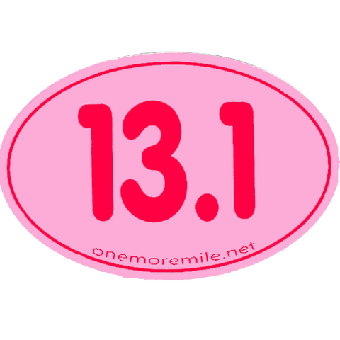 "Large Oval Sticker ""13.1 Smooth Font"" - Pink w/ Fuschia Imprint"