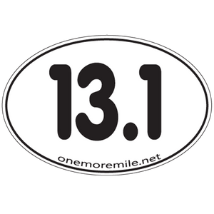 "Large Oval Sticker ""13.1 Smooth Font"" - White w/ Black Imprint"