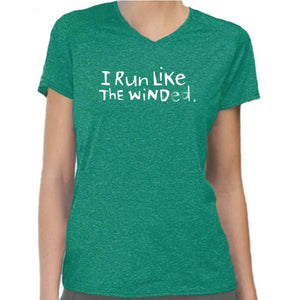 "Ladies Heathersoft Tech Short Sleeve V - ""I Run Like The Winded"" - dark green"