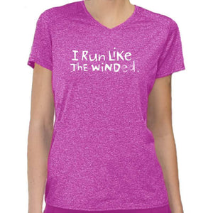 "Ladies Heathersoft Tech Short Sleeve V - ""I Run Like The Winded"" - fuchsia"
