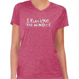 "Ladies Heathersoft Tech Short Sleeve V - ""I Run Like The Winded"" - red"