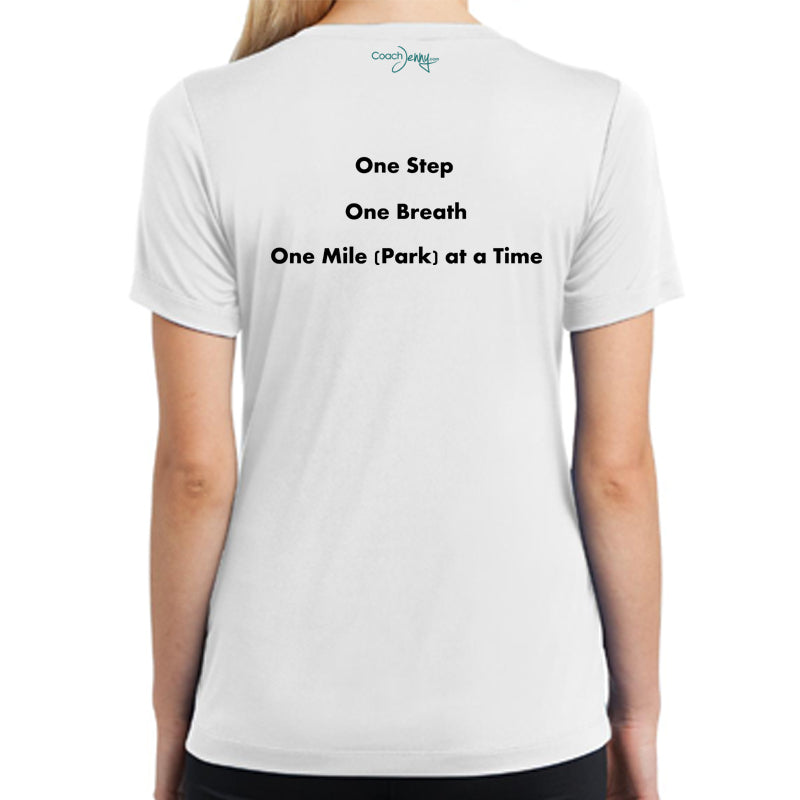 Coach Jenny's National Parks Challenge 2018 Ladies Sports Tech Short Sleeve V