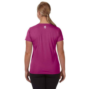 "Ladies Sports Tech Short Sleeve V - ""Girls Kick Butt"""