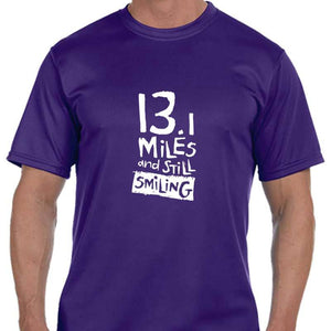 "Men's Sports Tech Short Sleeve Crew - ""13.1 Miles And Still Smiling"""