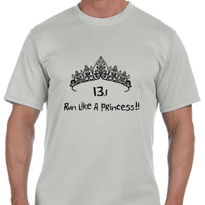 "Men's Sports Tech Short Sleeve Crew - ""13.1 Run Like A Princess"""