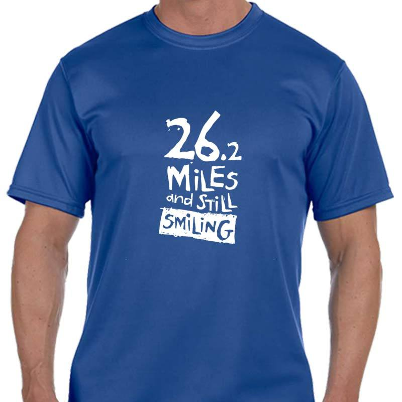 "Men's Sports Tech Short Sleeve Crew - ""26.2 Miles And Still Smiling"""