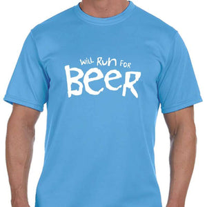"Men's Sports Tech Short Sleeve Crew - ""Will Run For Beer"""