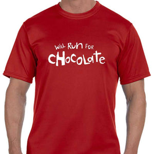 "Men's Sports Tech Short Sleeve Crew - ""Will Run For Chocolate"""