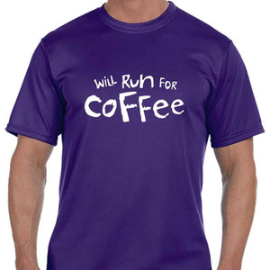 "Men's Sports Tech Short Sleeve Crew - ""Will Run For Coffee"""