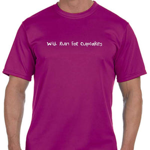 "Men's Sports Tech Short Sleeve Crew - ""Will Run For Cupcakes"""
