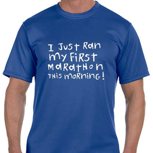 "Men's Sports Tech Short Sleeve Crew - ""First Marathon - Third Beer"""