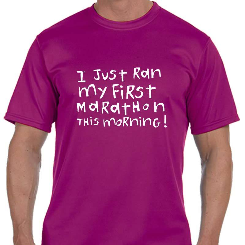 "Men's Sports Tech Short Sleeve Crew - ""First Marathon - Third Wine"""
