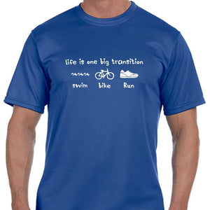 "Men's Sports Tech Short Sleeve Crew - ""Life Is One Big Transition"""