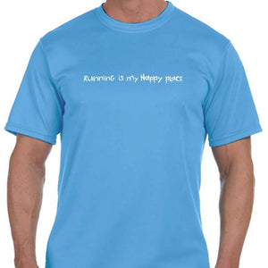 "Men's Sports Tech Short Sleeve Crew - ""Running Is My Happy Place"""