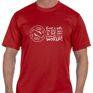 "Men's Sports Tech Short Sleeve Crew - ""Give A Girl The Right Shoes And She Can Conquer The World"""