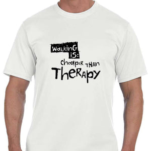 "Men's Sports Tech Short Sleeve Crew - ""Walking Is Cheaper Than Therapy"""