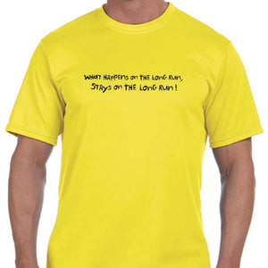 "Men's Sports Tech Short Sleeve Crew - ""What Happens On The Long Run Stays On The Long Run"""