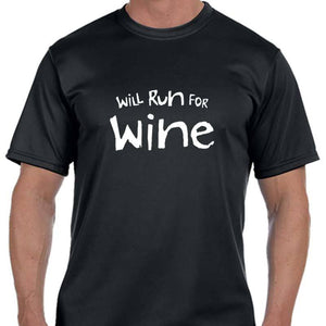 "Men's Sports Tech Short Sleeve Crew - ""Will Run For Wine"""