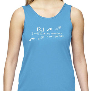 "Ladies Sports Tech Tank Crew - ""13.1  Lazy Like That"""