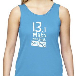 "Ladies Sports Tech Tank Crew - ""13.1 Miles And Still Smiling"""