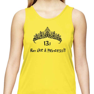 "Ladies Sports Tech Tank Crew - ""13.1 Run Like A Princess"""