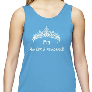 "Ladies Sports Tech Tank Crew - ""19.3 Run Like A Princess"""