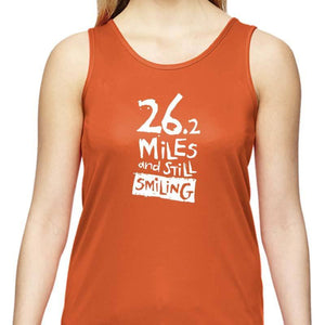 "Ladies Sports Tech Tank Crew - ""26.2 Miles And Still Smiling"""